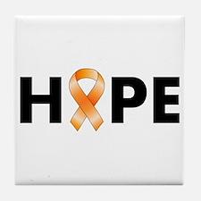 Orange Ribbon Hope Tile Coaster