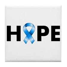 Blue Ribbon Hope Tile Coaster