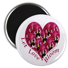 Raspberry Pansy, Let Love Bloom Magnet