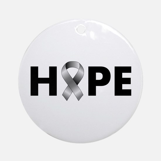 Grey Ribbon Hope Ornament (Round)