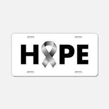 Grey Ribbon Hope Aluminum License Plate
