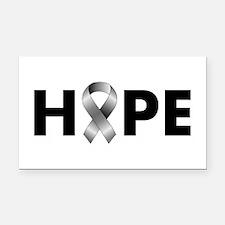 Grey Ribbon Hope Rectangle Car Magnet