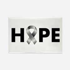 Grey Ribbon Hope Rectangle Magnet