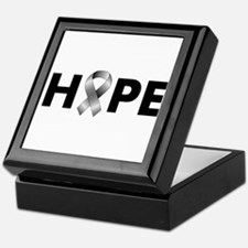 Grey Ribbon Hope Keepsake Box