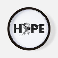 Grey Ribbon Hope Wall Clock