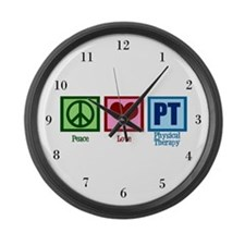Peace Love PT Large Wall Clock