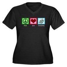 Peace Love Accounting Women's Plus Size V-Neck Dar