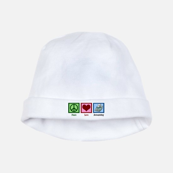 Peace Love Accounting baby hat