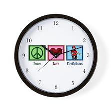 Peace Love Firefighters Wall Clock