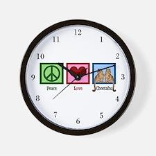 Peace Love Cheetahs Wall Clock