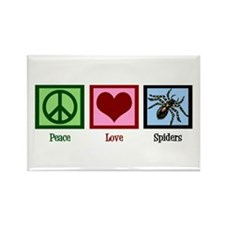 Peace Love Spiders Rectangle Magnet