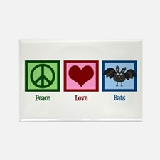 Peace Love Bats Rectangle Magnet