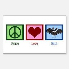 Peace Love Bats Decal