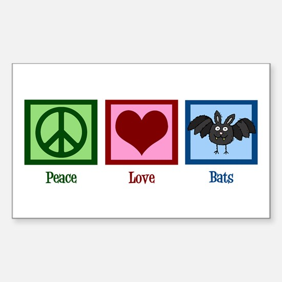 Peace Love Bats Sticker (Rectangle)