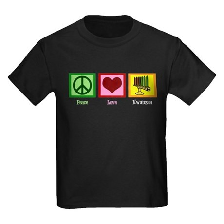 Peace Love Kwanzaa Kids Dark T-Shirt
