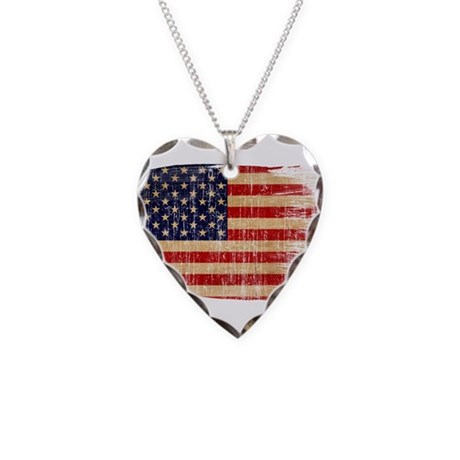 United States Flag Necklace Heart Charm