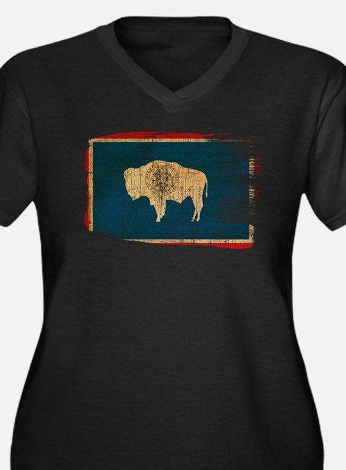 Wyoming Flag Women's Plus Size V-Neck Dark T-Shirt