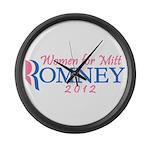 Women for Mitt Romney 2012 Pink Large Wall Clock