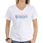 Women for Mitt Romney 2012 Pink Women's V-Neck T-S