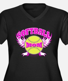 Softball mom Women's Plus Size V-Neck Dark T-Shirt