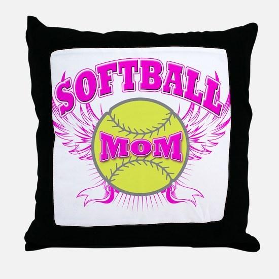 Softball mom Throw Pillow