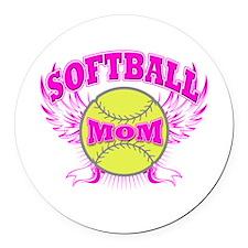Softball mom Round Car Magnet