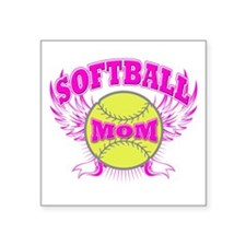 "Softball mom Square Sticker 3"" x 3"""