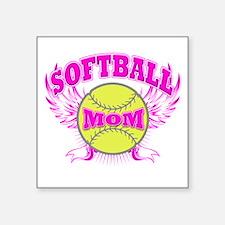 """Softball mom Square Sticker 3"""" x 3"""""""