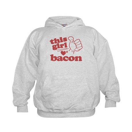 Girl Loves Bacon Kids Hoodie