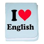 I Love English baby blanket