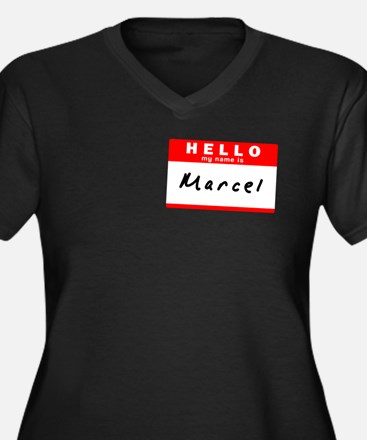 Marcel, Name Tag Sticker Women's Plus Size V-Neck