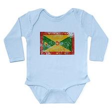 Grenada Flag Long Sleeve Infant Bodysuit