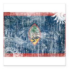 """Guam Flag Square Car Magnet 3"""" x 3"""""""