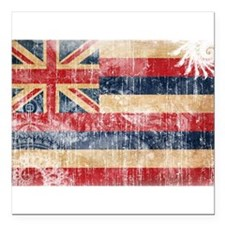 "Hawaii Flag Square Car Magnet 3"" x 3"""
