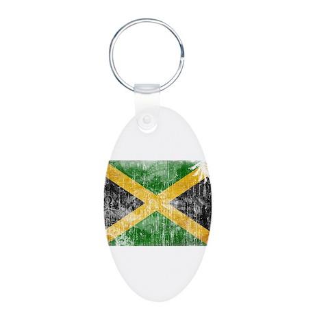 Jamaica Flag Aluminum Oval Keychain