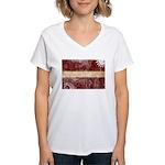 Latvia Flag Women's V-Neck T-Shirt