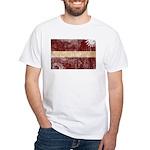 Latvia Flag White T-Shirt
