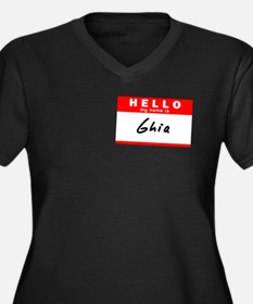 Ghia, Name Tag Sticker Women's Plus Size V-Neck Da