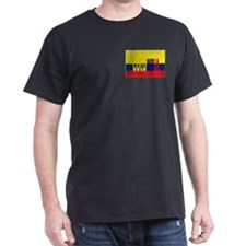 Colombia flag & Colombia name written Black T-Shir