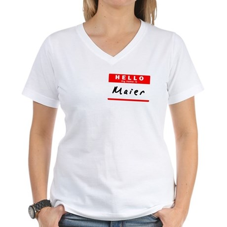 Maier, Name Tag Sticker Women's V-Neck T-Shirt