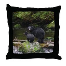 Alaska Black Bears Throw Pillow