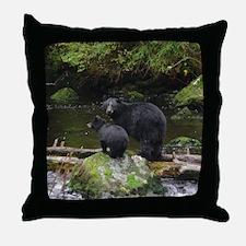Alaska Black Bears Throw Pillow