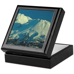 Wooden Box w/Tile top - Shasta and Shastina Peaks