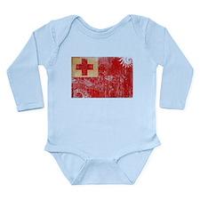 Tonga Flag Long Sleeve Infant Bodysuit