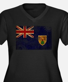 Turks and Caicos Flag Women's Plus Size V-Neck Dar