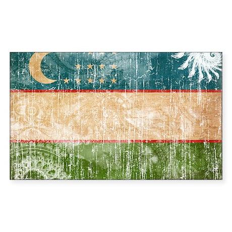 Uzbekistan Flag Sticker (Rectangle)