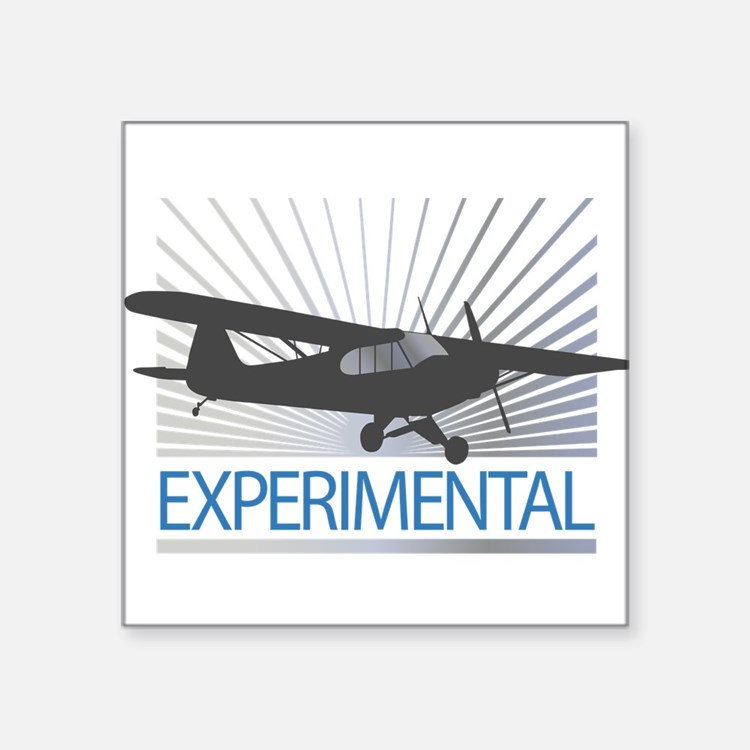 """Aircraft Experimental Square Sticker 3"""" x 3"""""""