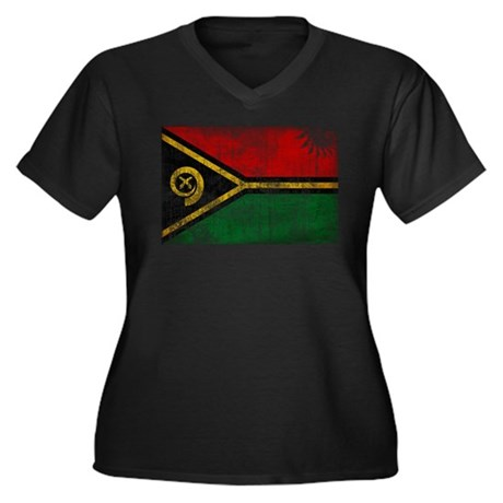 Vanuatu Flag Women's Plus Size V-Neck Dark T-Shirt