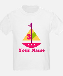 Personalized 3rd Birthday Sailboat T-Shirt