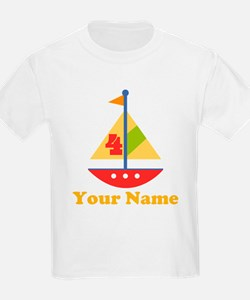 Personalized 4th Birthday Sailboat T-Shirt